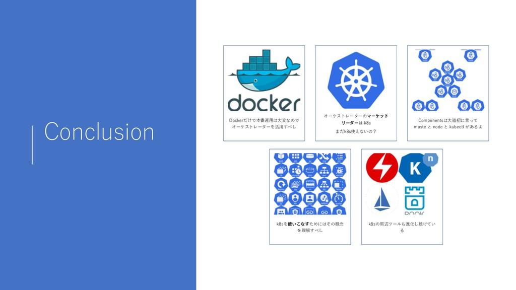 Conclusion Dockerだけで本番運⽤は⼤変なので オーケストレーターを活⽤すべし ...