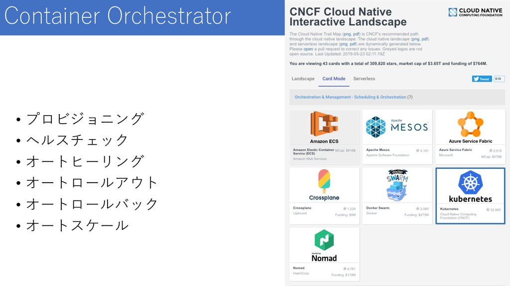 Container Orchestrator • プロビジョニング • ヘルスチェック • オ...