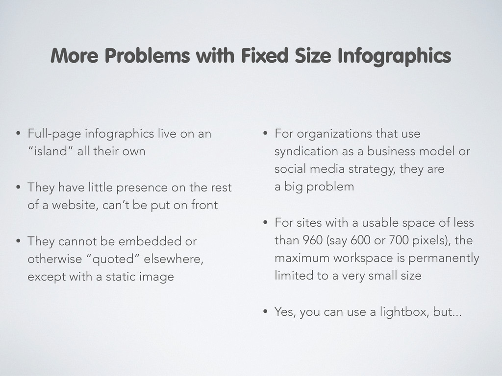 """• Full-page infographics live on an """"island"""" al..."""