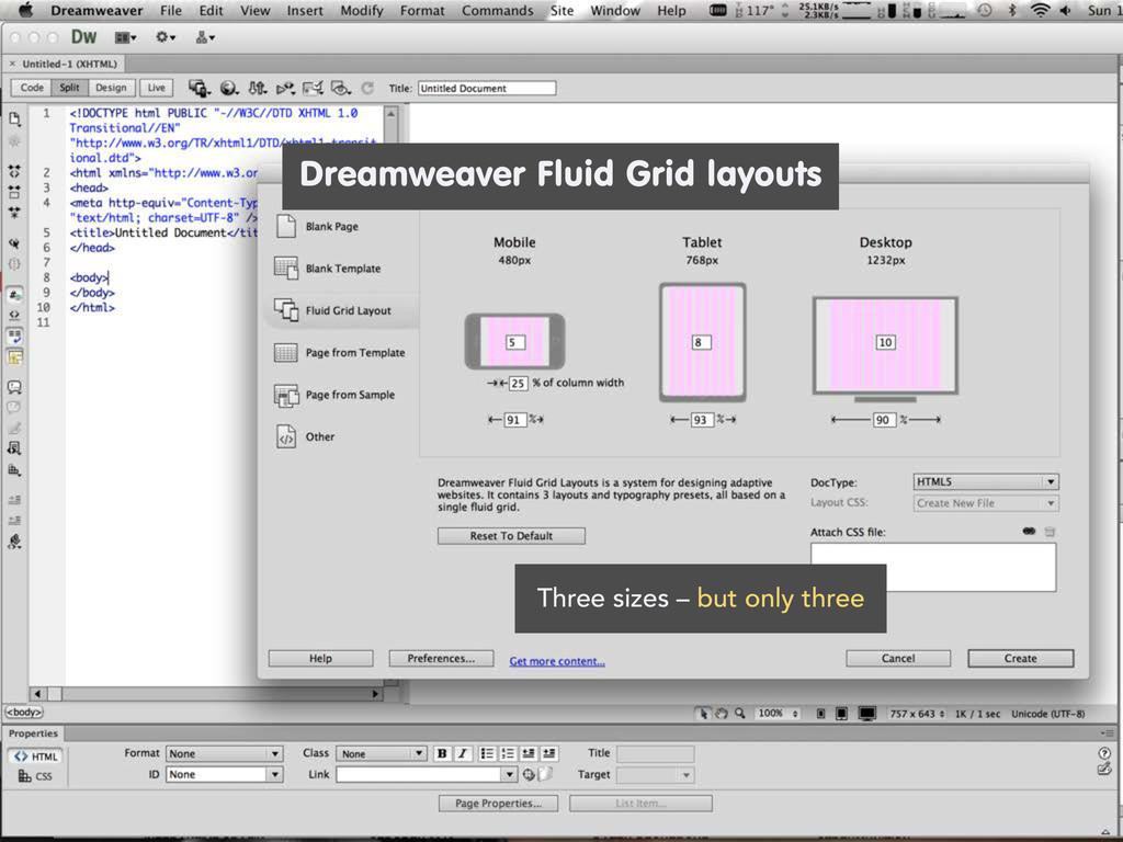 Dreamweaver Fluid Grid layouts Three sizes – bu...