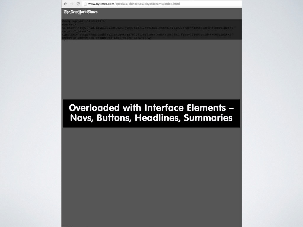 Overloaded with Interface Elements – Navs, Butt...