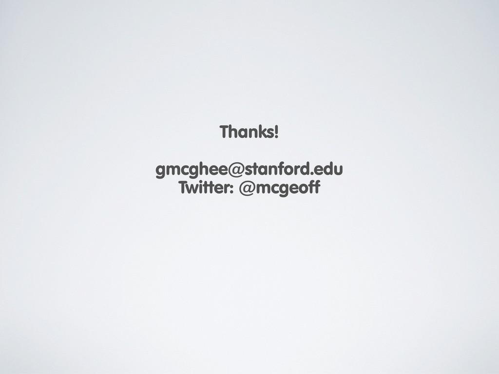 Thanks! gmcghee@stanford.edu Twitter: @mcgeoff