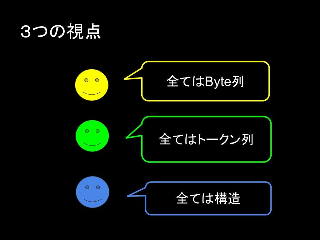 3つの視点 全てはByte列 全てはトークン列 全ては構造