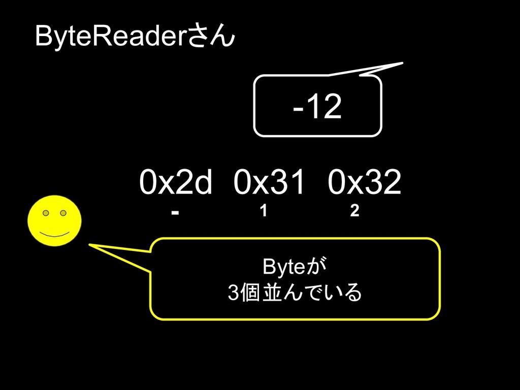 ByteReaderさん Byteが 3個並んでいる 0x2d 0x31 0x32 - 1 2...