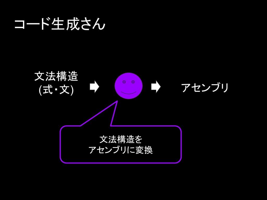 コード生成さん 文法構造 (式・文) 文法構造を アセンブリに変換 アセンブリ