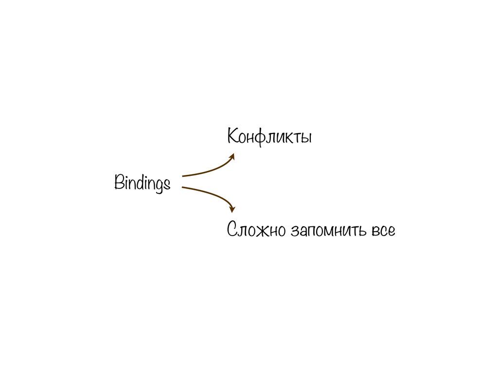 Bindings Конфликты Сложно запомнить все
