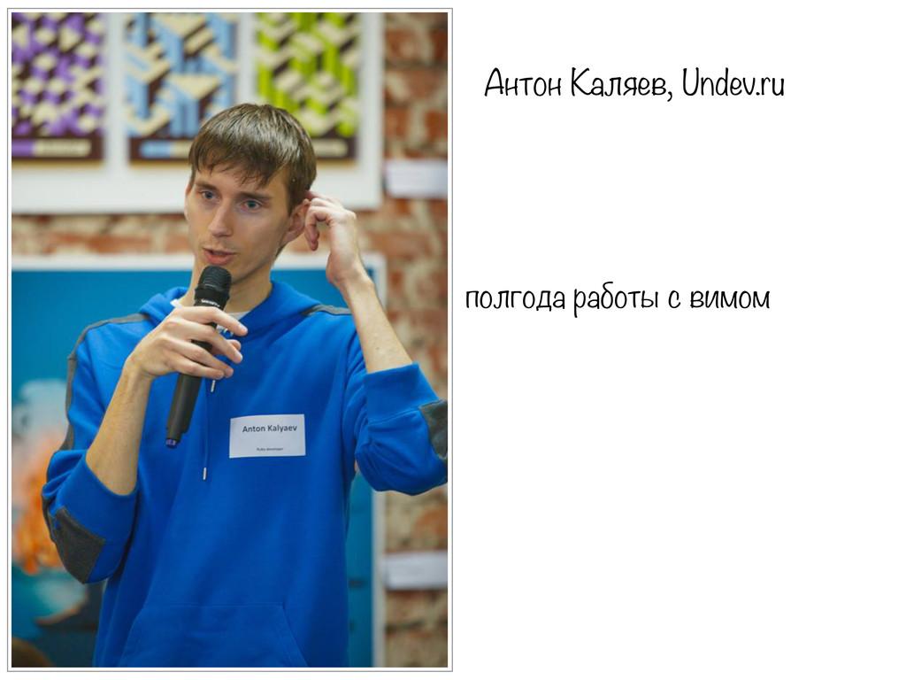 Антон Каляев, Undev.ru полгода работы с вимом