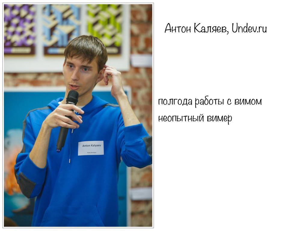 Антон Каляев, Undev.ru полгода работы с вимом н...