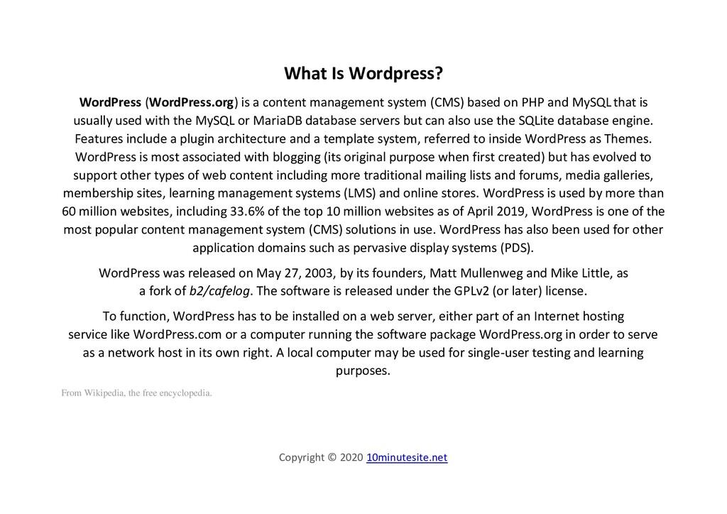 Copyright © 2020 10minutesite.net What Is Wordp...
