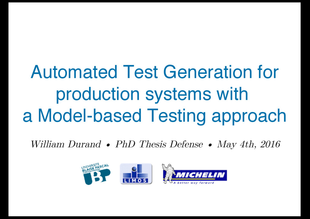 Automated Test Generation for production system...