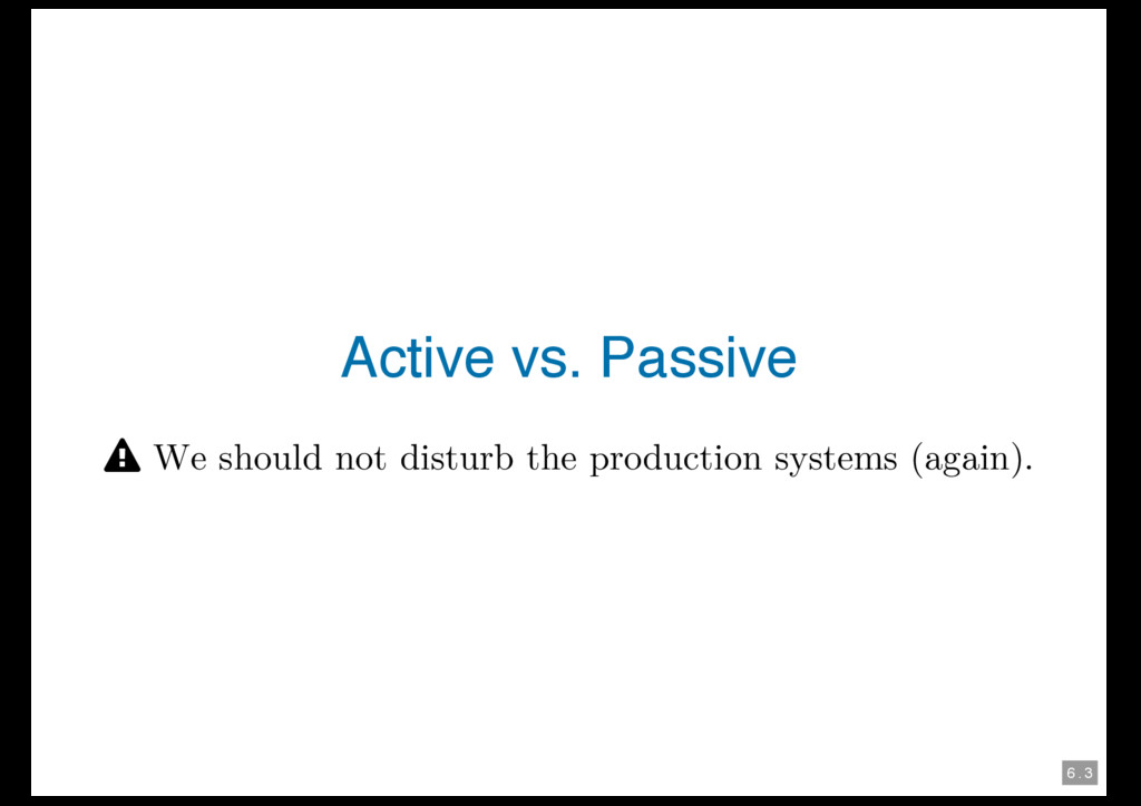 6 . 3 Active vs. Passive † We should not distur...