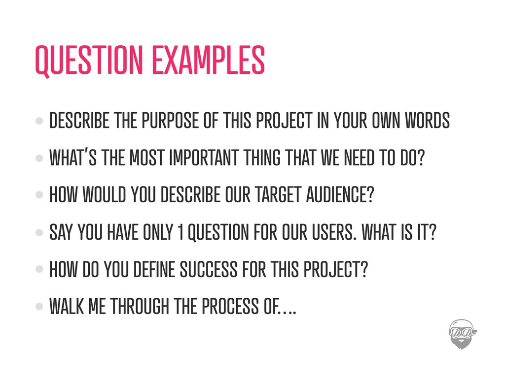 QUESTION EXAMPLES DESCRIBE THE PURPOSE OF THIS ...