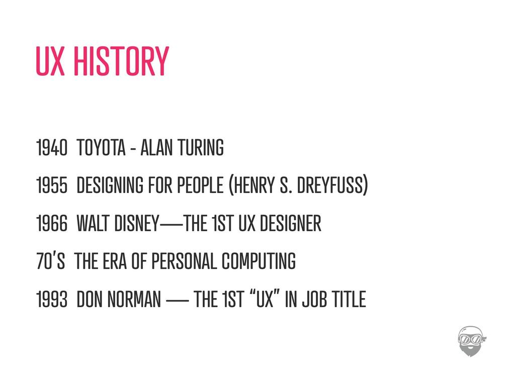 UX HISTORY 1940 TOYOTA - ALAN TURING 1955 DESIG...