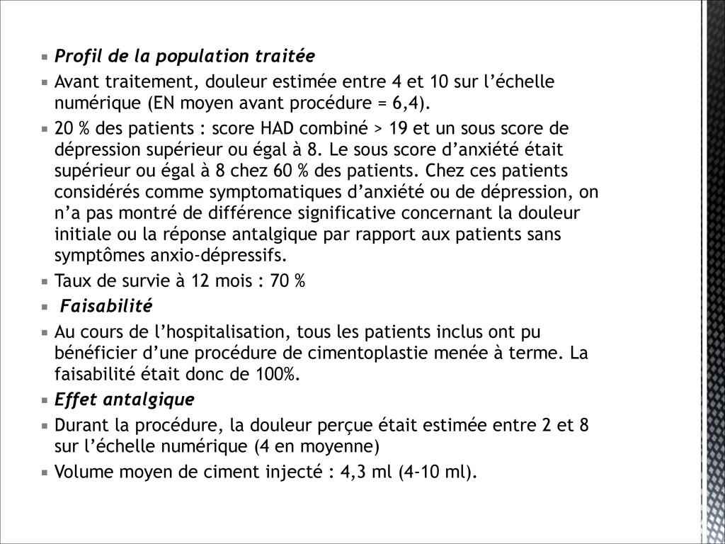 ▪ Profil de la population traitée ▪ Avant trait...