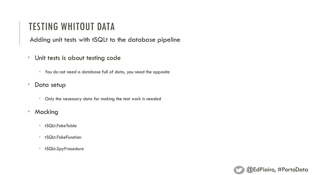 TESTING WHITOUT DATA Adding unit tests with tSQ...