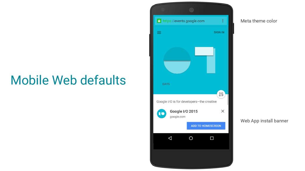 Web App install banner Mobile Web defaults Meta...