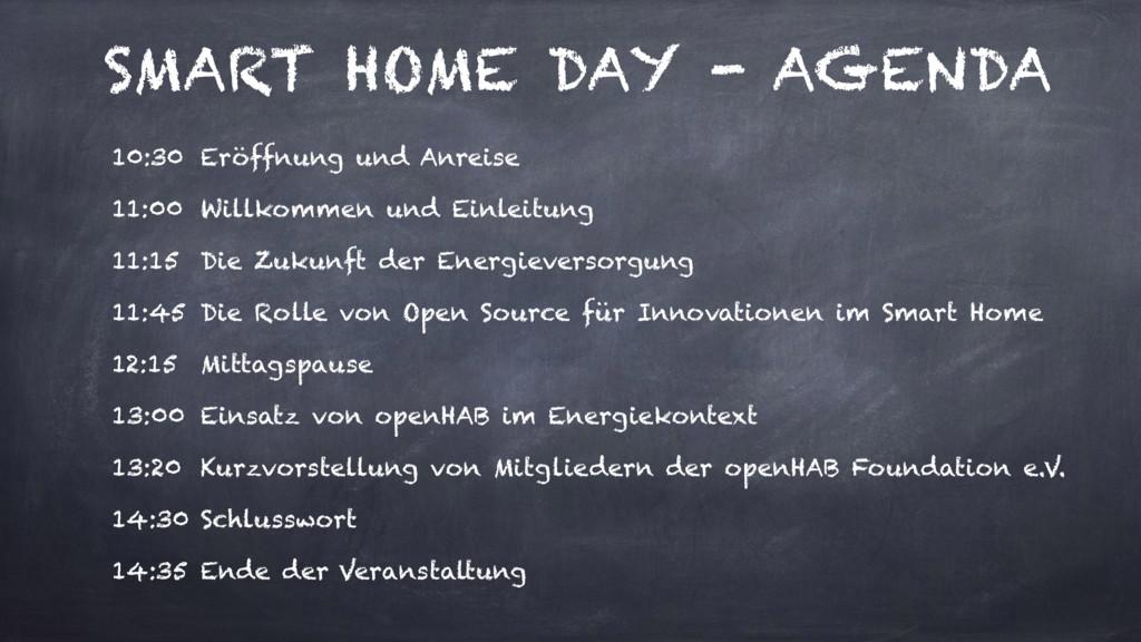 SMART HOME DAY - AGENDA 10:30 Eröffnung und Anr...