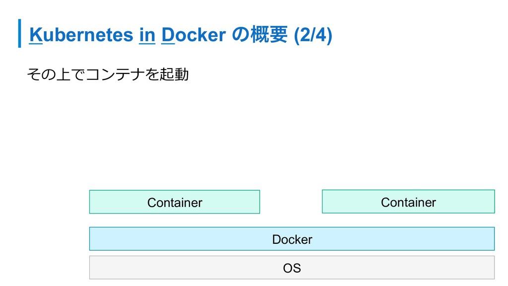 Kubernetes in Docker ͷ֓ཁ (2/4) その上でコンテナを起動 OS D...