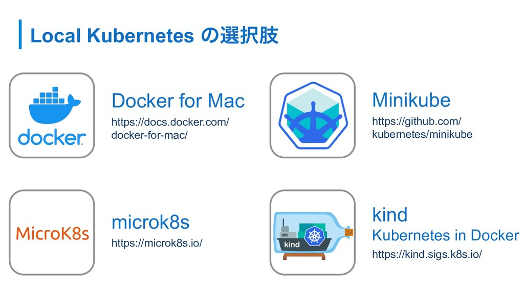 Local Kubernetes ͷબ୒ࢶ Docker for Mac https://do...