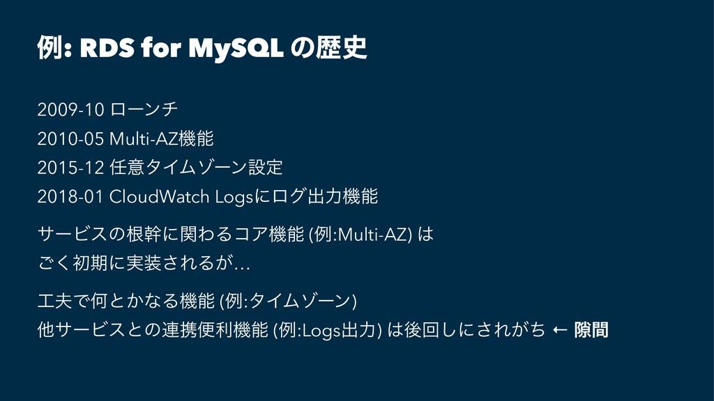 ྫ: RDS for MySQL ͷྺ 2009-10 ϩʔϯν 2010-05 Multi...