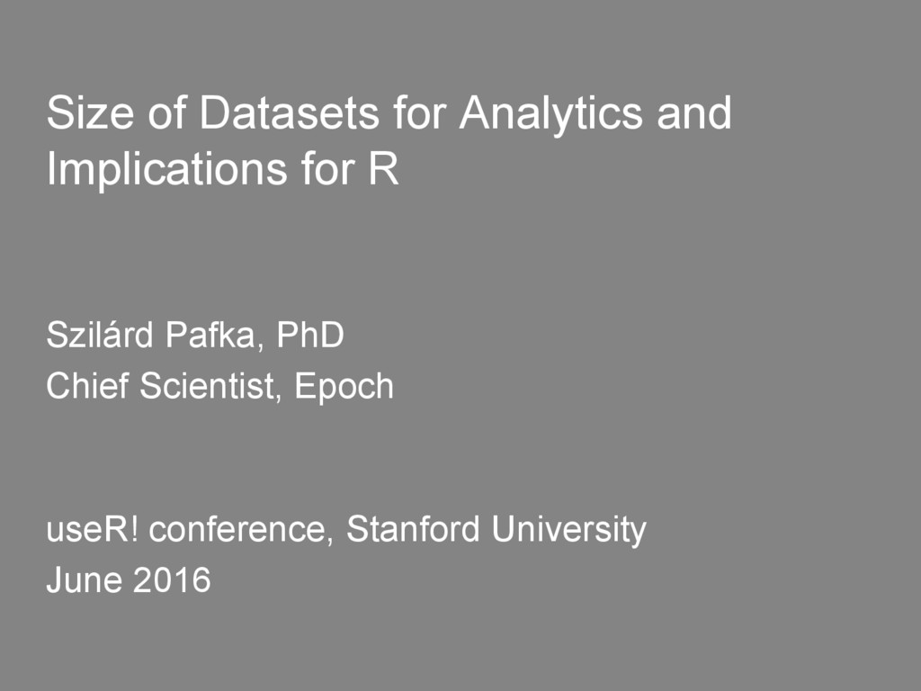 Size of Datasets for Analytics and Implications...