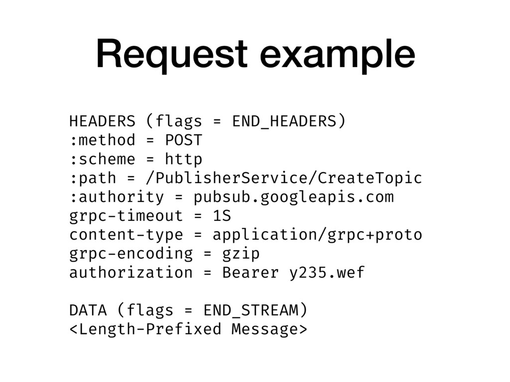 Request example HEADERS (flags = END_HEADERS) :...