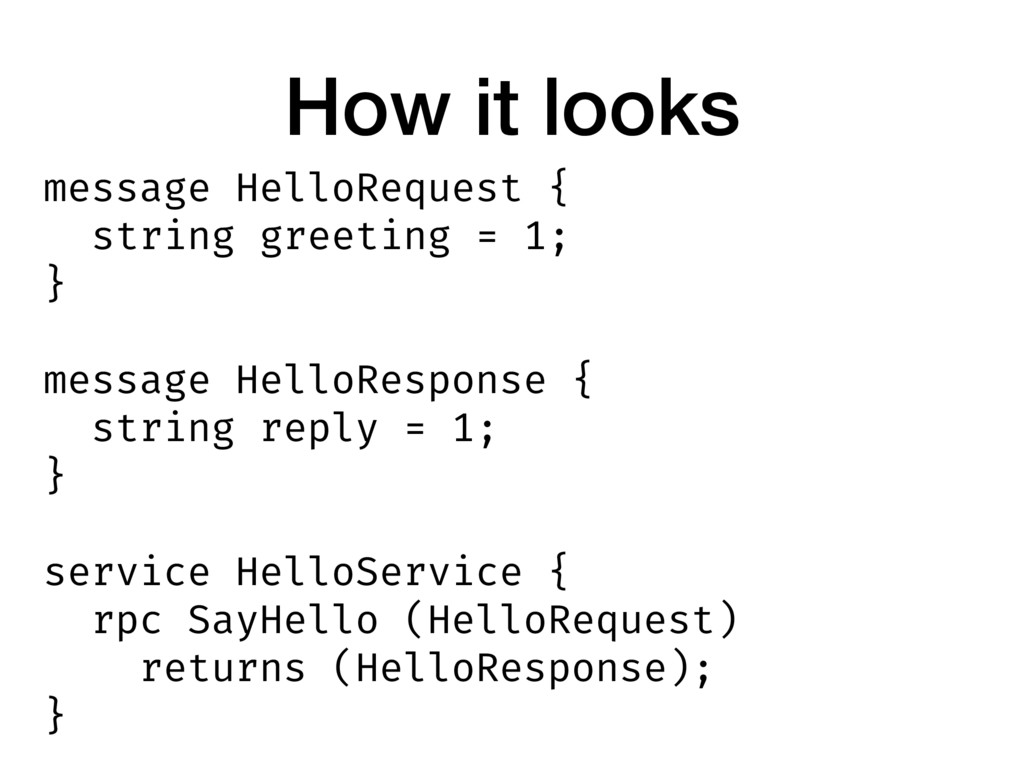 How it looks message HelloRequest { string gree...