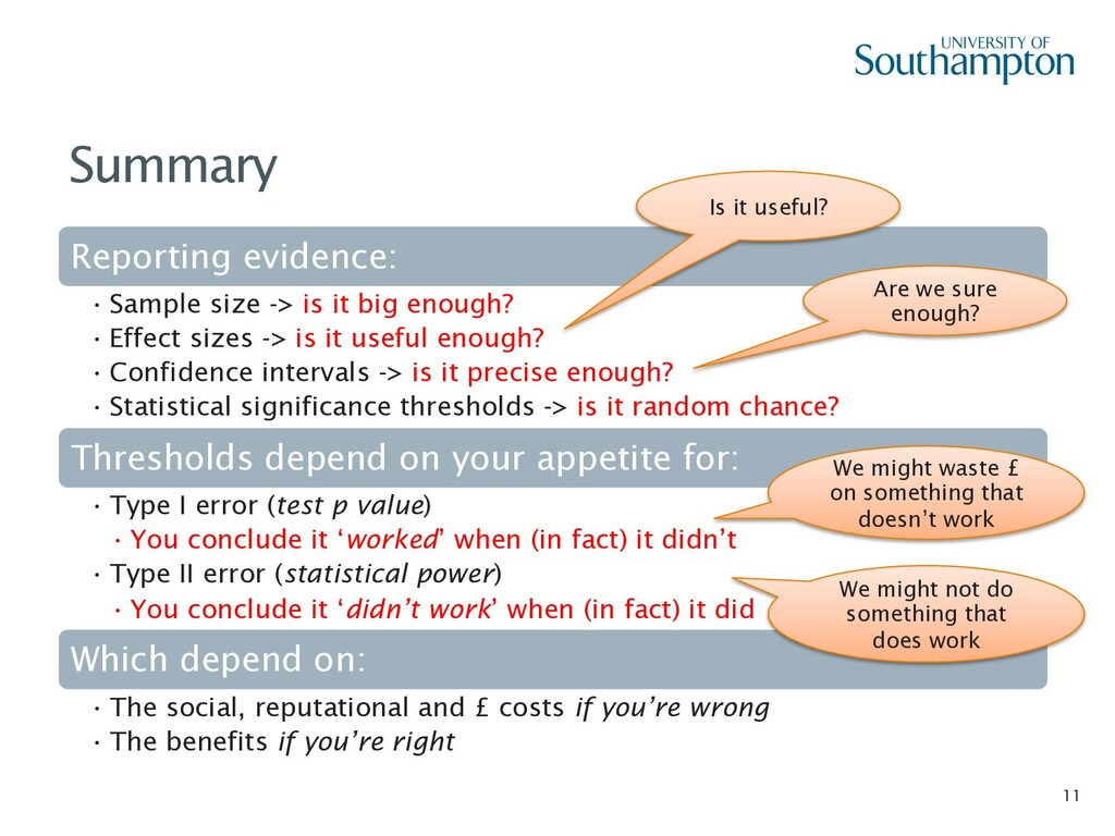 11 Summary Reporting evidence: • Sample size ->...