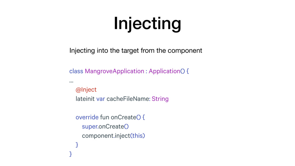 Injecting into the target from the component In...
