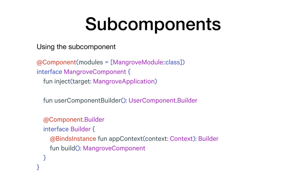 Using the subcomponent Subcomponents @Component...