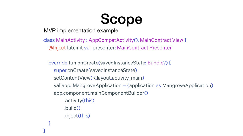 MVP implementation example Scope class MainActi...