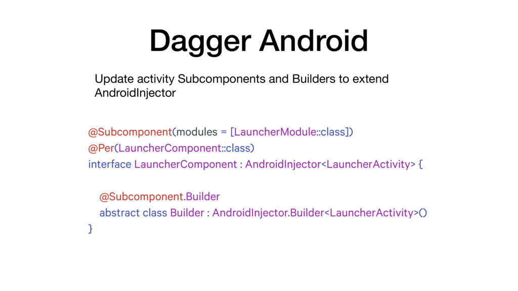 Update activity Subcomponents and Builders to e...