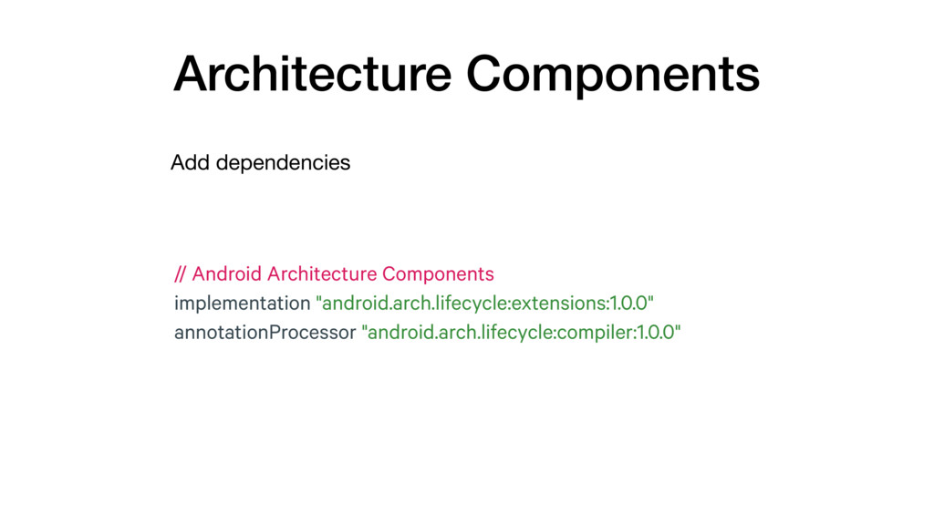 Add dependencies Architecture Components // And...