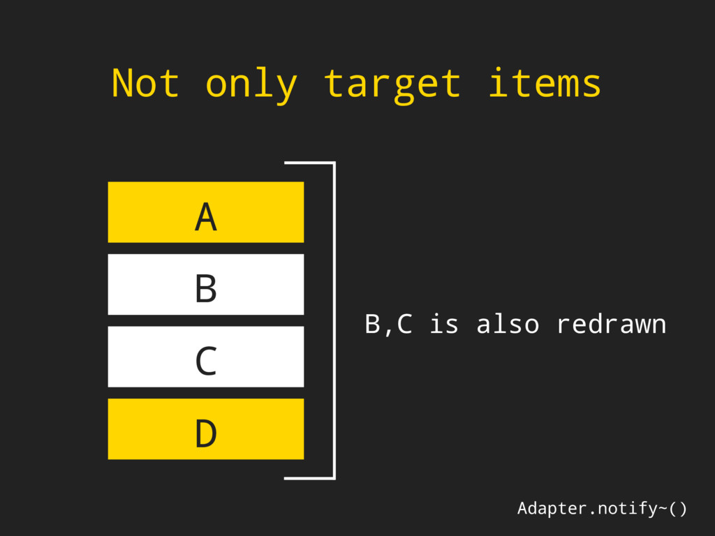Not only target items Adapter.notify~() A B C D...