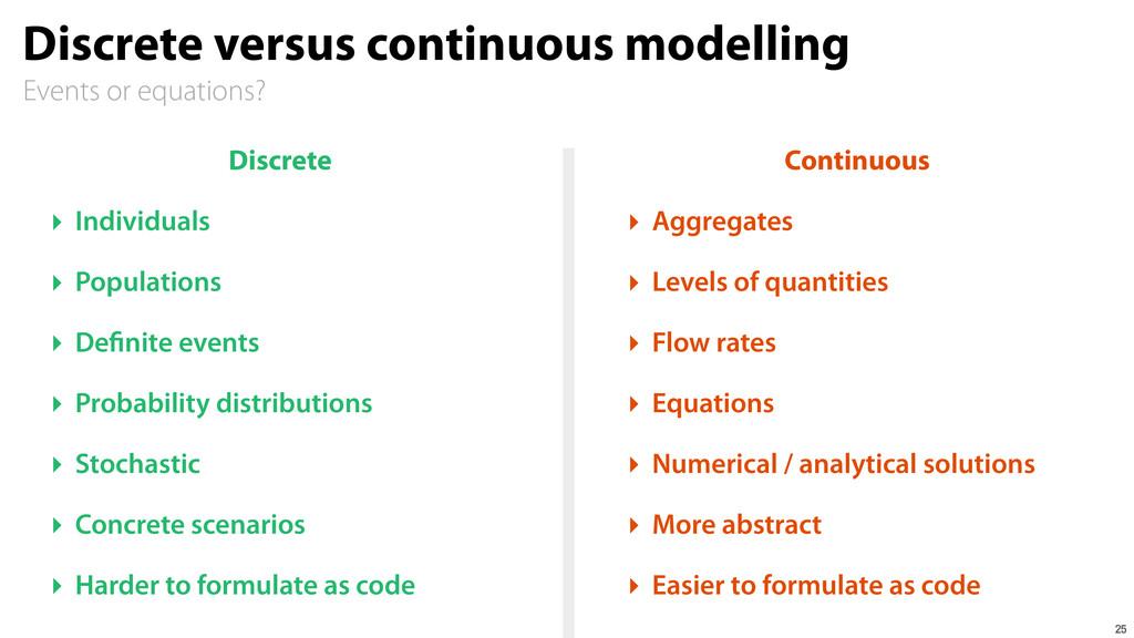 Events or equations? Discrete versus continuous...