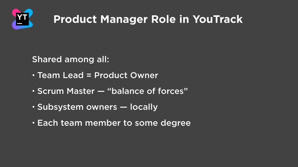 Product Manager Role in YouTrack Shared among a...