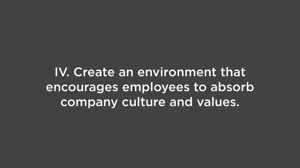 IV. Create an environment that encourages emplo...