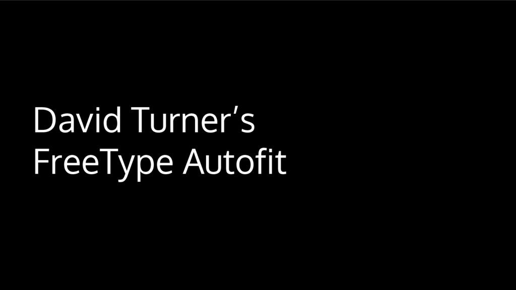 David Turner's FreeType Autofit