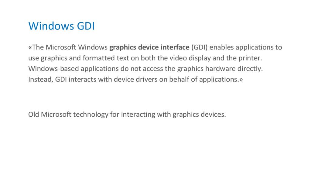 Windows GDI «The Microsoft Windows graphics dev...