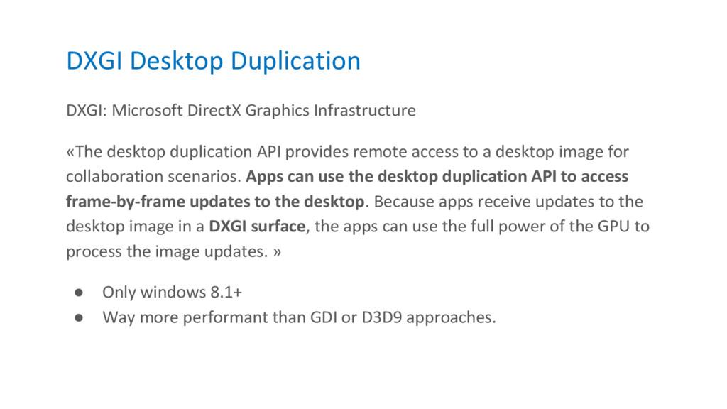DXGI Desktop Duplication DXGI: Microsoft Direct...