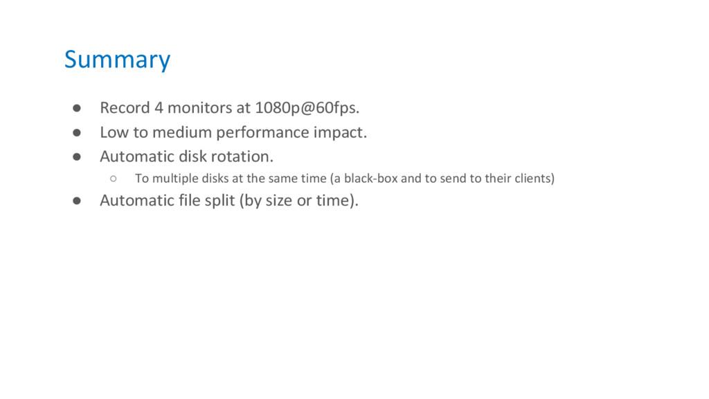 Summary ● Record 4 monitors at 1080p@60fps. ● L...
