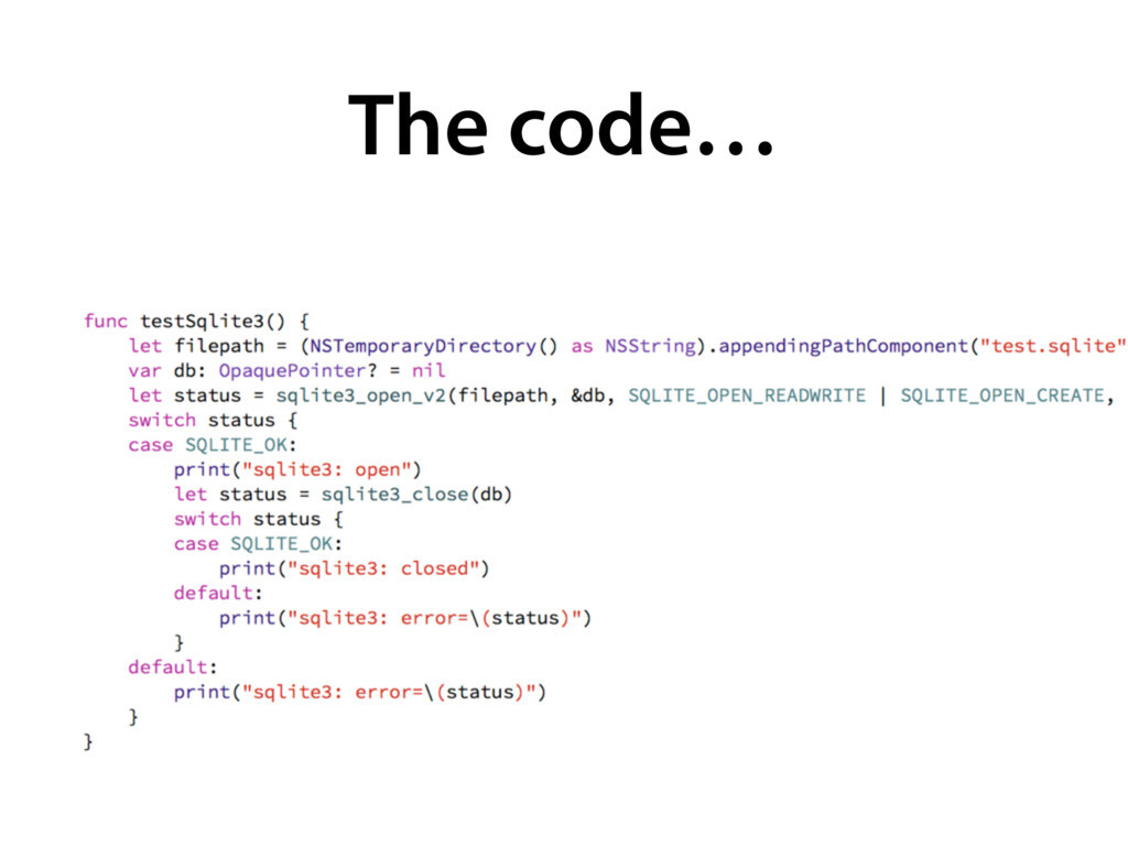 The code…