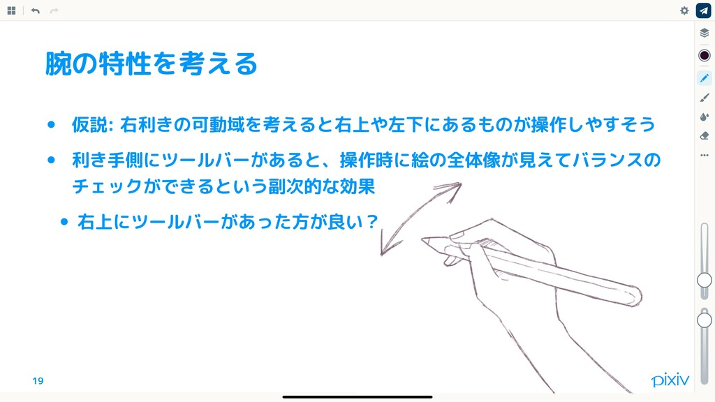 19 腕の特性を考える • 仮説: 右利きの可動域を考えると右上や左下にあるものが操作しやすそ...
