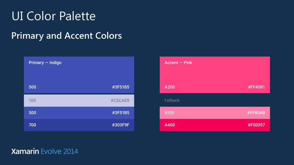 UI Color Palette Primary and Accent Colors