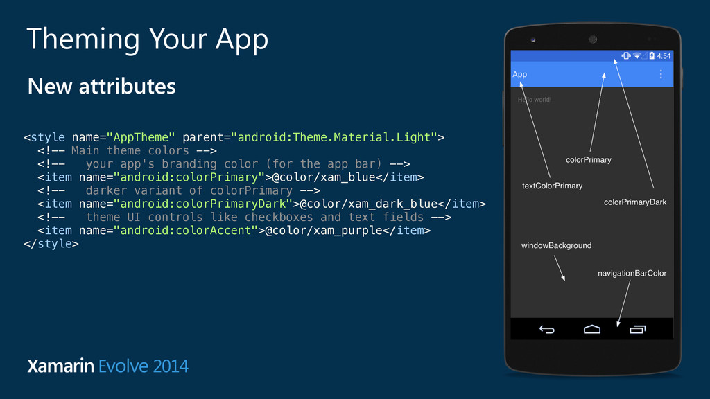 """Theming Your App New attributes <style name=""""Ap..."""