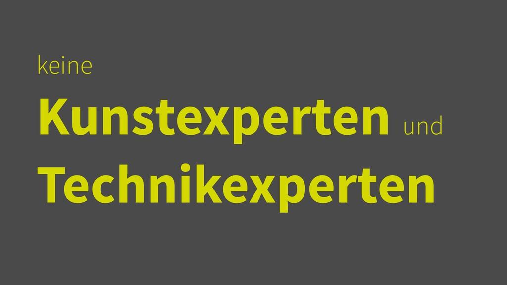 keine   Kunstexperten und Technikexperten