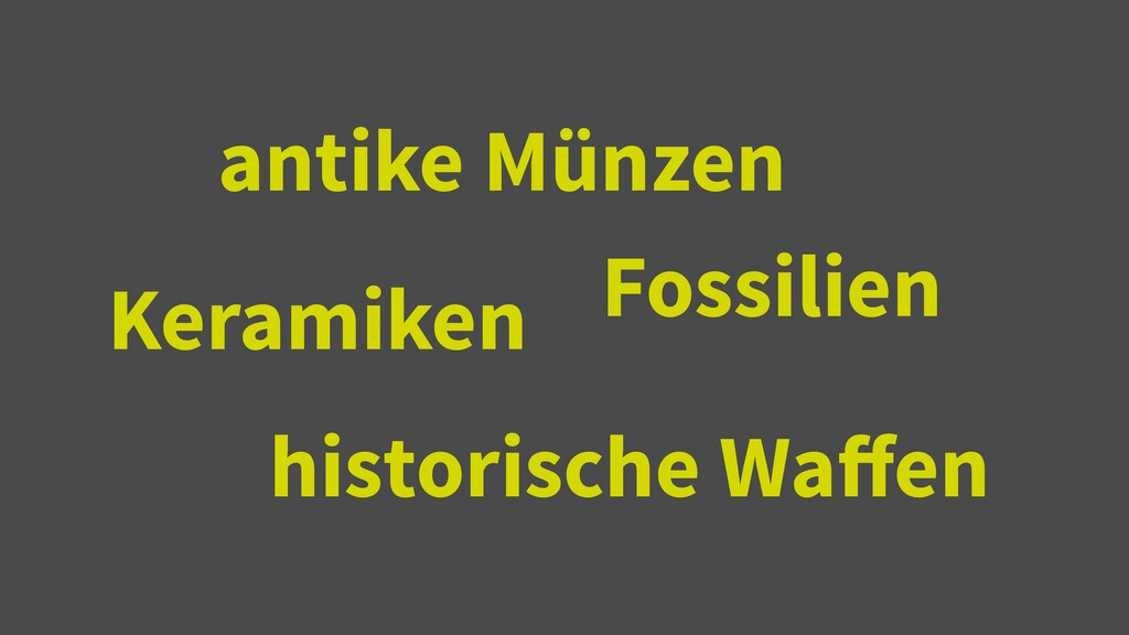 historische Wa ff en antike Münzen Keramiken Fo...