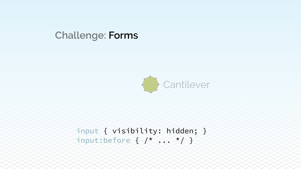 Challenge: Forms input { visibility: hidden; } ...