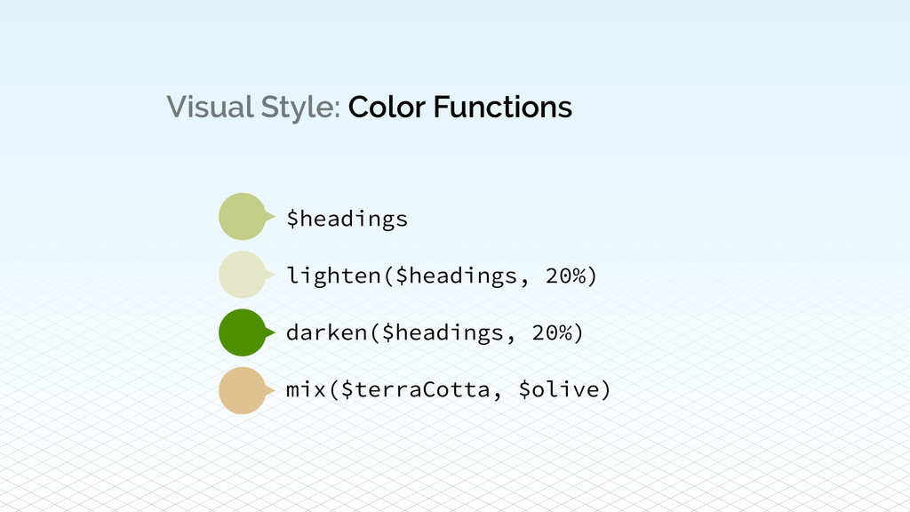 Visual Style: Color Functions $headings ! light...