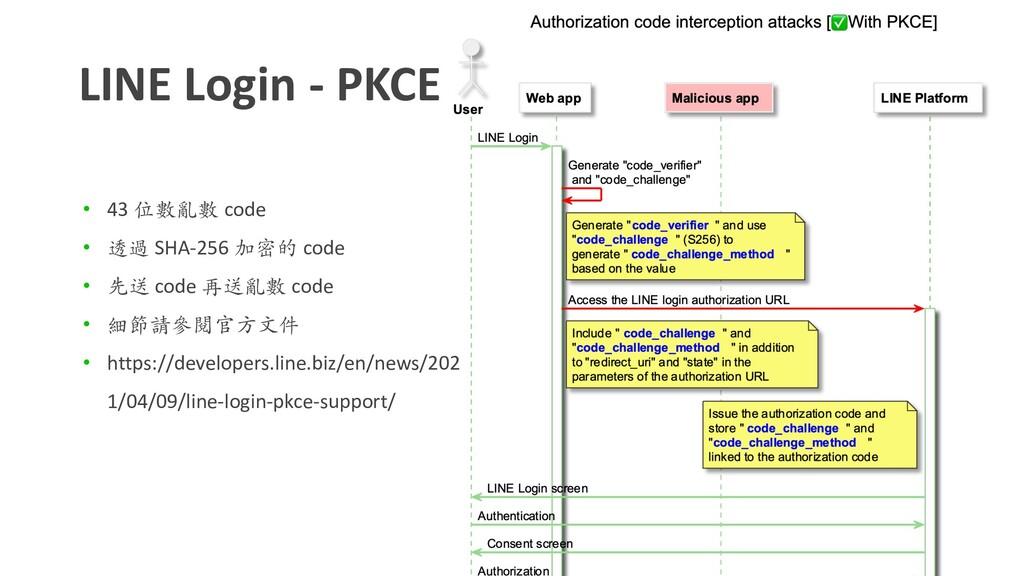 LINE Login - PKCE • 43 位數亂數 code • 透過 SHA-256 加...